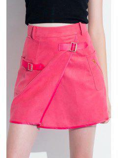 A-Line Pocket Design Red Skirt - Rose L