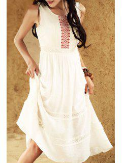 Ethnic Embroidery Scoop Neck Sundress - White L