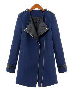 Spliced All Match Turn-Down Collar Long Sleeves Coat - Blue S