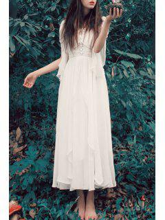 V Neck Solid Color Chiffon Dress - White Xl