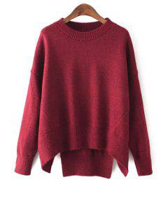 Solid Color High-Low-Hem Batwing Sleeves Sweater - Wine Red