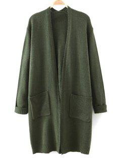 Letter Pattern Long Sleeve Cardigan - Green
