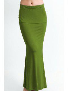 Packet Buttock Fishtail Solid Color Skirt - Army Green M