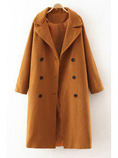 Lapel Double-Breasted Worsted Coat - Camel M