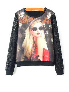 Figure Print Scoop Neck Long Sleeve Sweatshirt - Black S