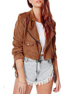 Tassels Spliced Solid Color Suede Lapel Collar Jacket - Brown 2xl