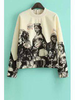 Figure Print Long Sleeve Zipper Sweatshirt - L
