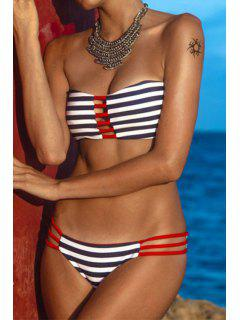 Striped Hollow Out Bikini Set - Black And White And Red L