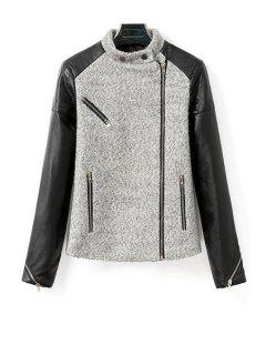 Worsted Spliced Stand Neck Long Sleeve Jacket - Gray M