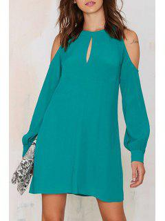 Solid Color Cut Out Jewel Neck Lantern Sleeves Dress - Light Blue Xl