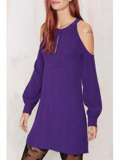 Solid Color Cut Out Jewel Neck Lantern Sleeves Dress - Purple Xl