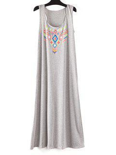 Totem Print Plus Size Dress - Gray M