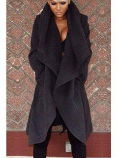 Solid Color Worsted Long Sleeves Coat - Black M