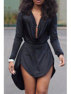 Solid Color High Low Long Sleeve Dress - Black L