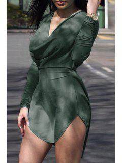 Solid Color High Low Long Sleeve Dress - Olive Green S