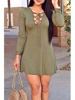 Army Green V Neck Long Sleeve Dress - Army Green L