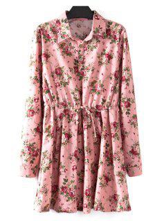 Floral Print Plus Size Drawstring Dress - Pink Xl