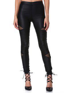Faux Leather Narrow Feet Black Pants - Black 2xl