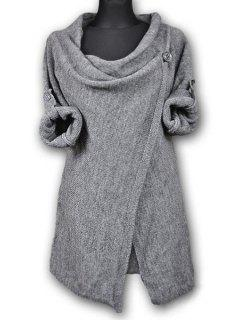 Pullover Long Sleeves Button Sweater - Light Gray