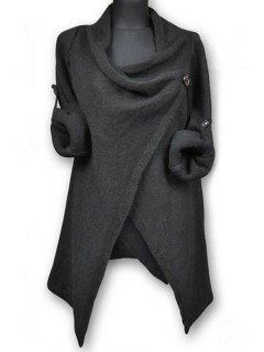 Pullover Long Sleeves Button Sweater - Deep Gray