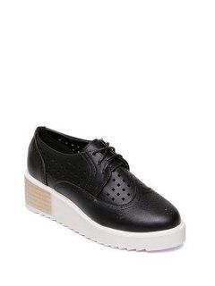 Hollow Out Lace-Up Platform Shoes - Black 38