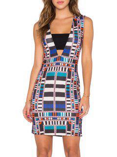 Deep V Neck Sleeveless Bodycon Dress - Xl