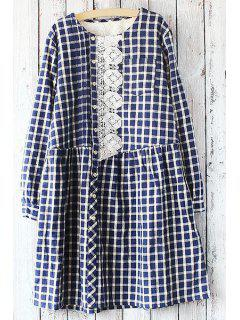 Embroidery Print Checked Round Collar Long Sleeves Dress - Purplish Blue