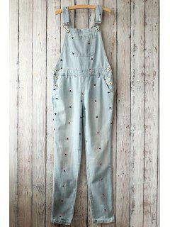 Embroidery Print Pockets Denim Overalls - Light Blue