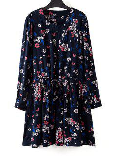Tiny Floral Jewel Neck Long Sleeve Dress - Black 3xl
