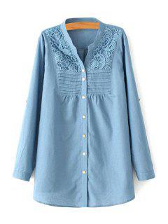 Crochet Flower Splicing Long Sleeve Blouse - Blue 3xl