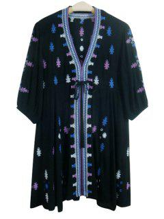 Embroidery Print Loose Fitting Waisted V-Neck Dress - Black L
