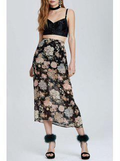 Floral Print Side Slit Long Skirt - Black L