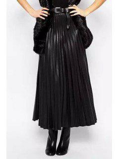 PU Leather Pleated High Waisted Solid Color Skirt - Black L