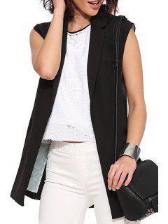 Lapel Black Simple Design Waistcoat - Black Xs