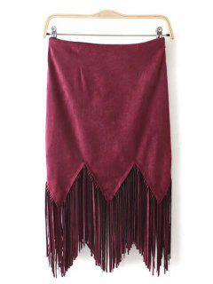 Suede Tassels Spliced Solid Color Skirt - Red M
