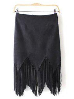 Suede Tassels Spliced Solid Color Skirt - Black L