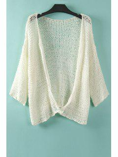 Pure Color Long Sleeves Collarless Cardigan - Off-white