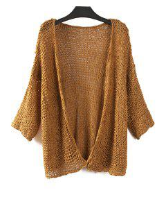 Pure Color Long Sleeves Collarless Cardigan - Brown