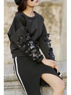 Applique Flower Round Collar Long Sleeves Sweatshirt - Black M