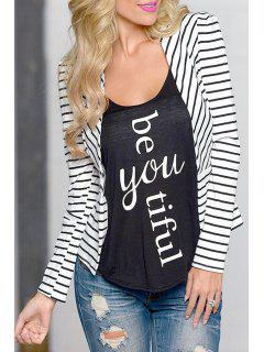 Open Front Long Sleeve Striped Blazer - White L