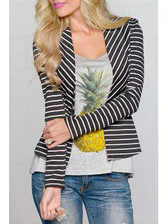 Open Front Long Sleeve Striped Blazer - Black M