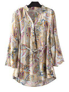 Paisley Print V Neck Long Sleeve Blouse - Khaki M