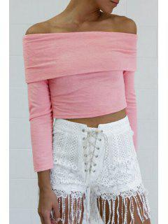 Solid Color Slash Neck Long Sleeve Crop Top - Pink M