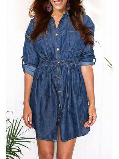 Blue Turn Down Collar Long Sleeve Denim Shirt - Blue L