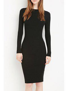 Solid Color Bodycon Midi Dress - Black S