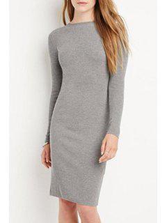 Solid Color Bodycon Midi Dress - Light Gray M