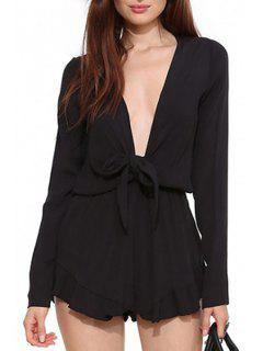 Plunging Neck Long Sleeve Chiffon Black Playsuit - Black Xl