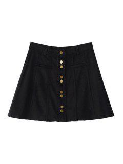 A-Line Single-Breasted Suede Skirt - Black S