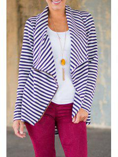 Striped Turn Down Collar Long Sleeve Coat - Blue And White S