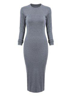 Gray Long Sleeve Bodycon Dress - Blue Gray L